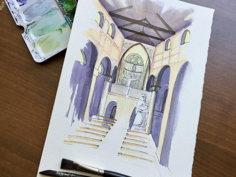The interior of the Abbey in Sesto al Reghena