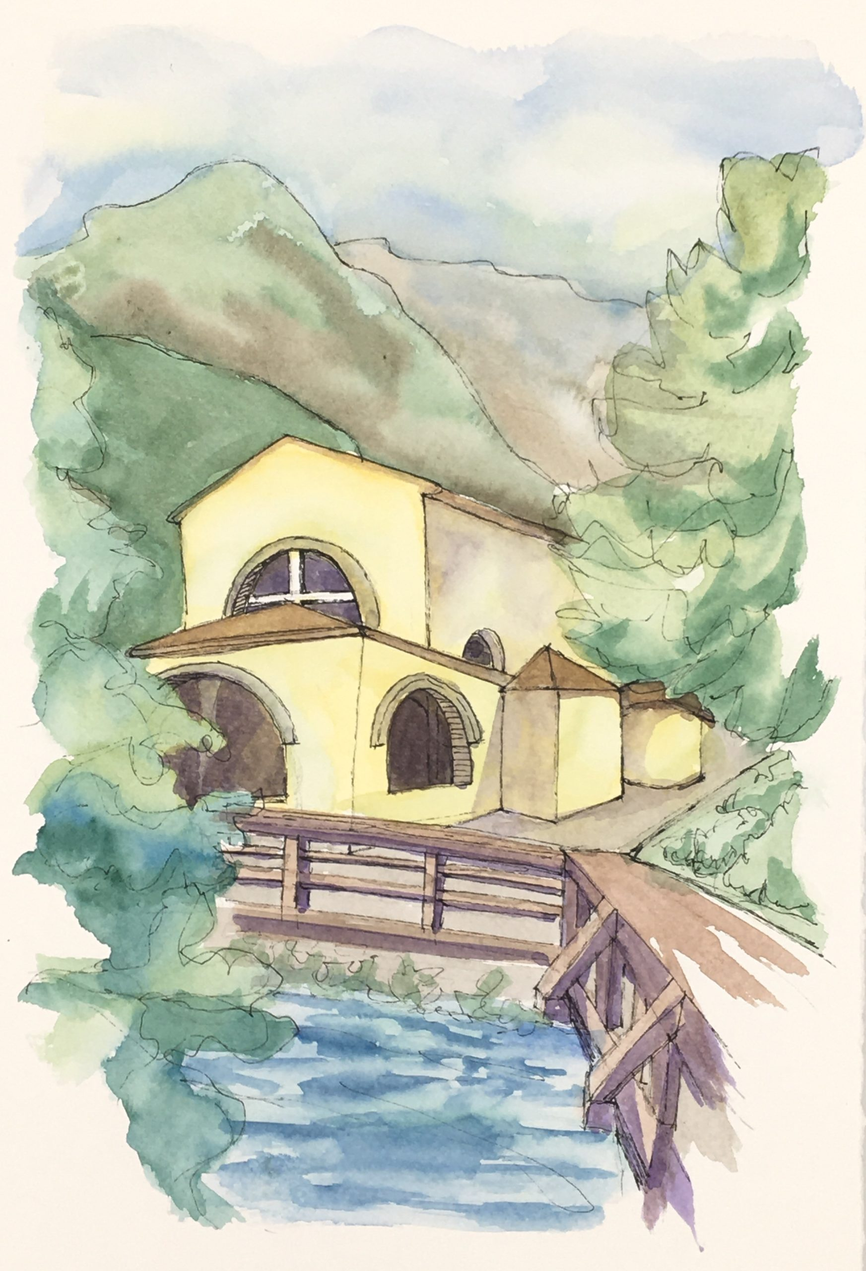 Painting of The Sanctuary of the Santissima on the Livenza River