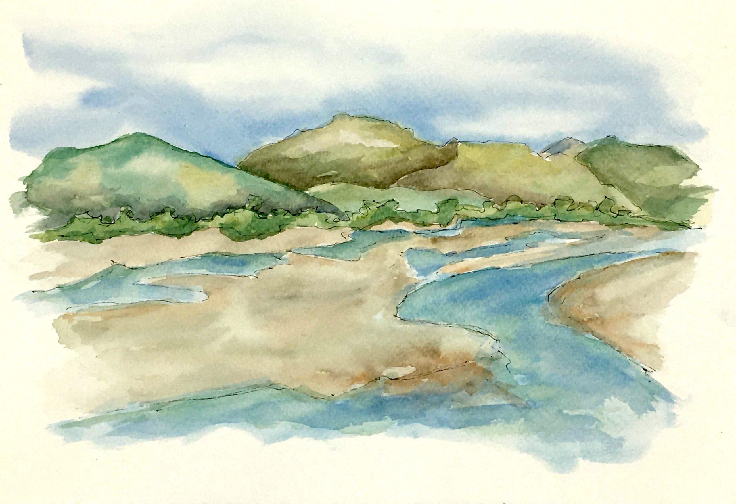 Painting of The Tagliamento River near Spilimbergo