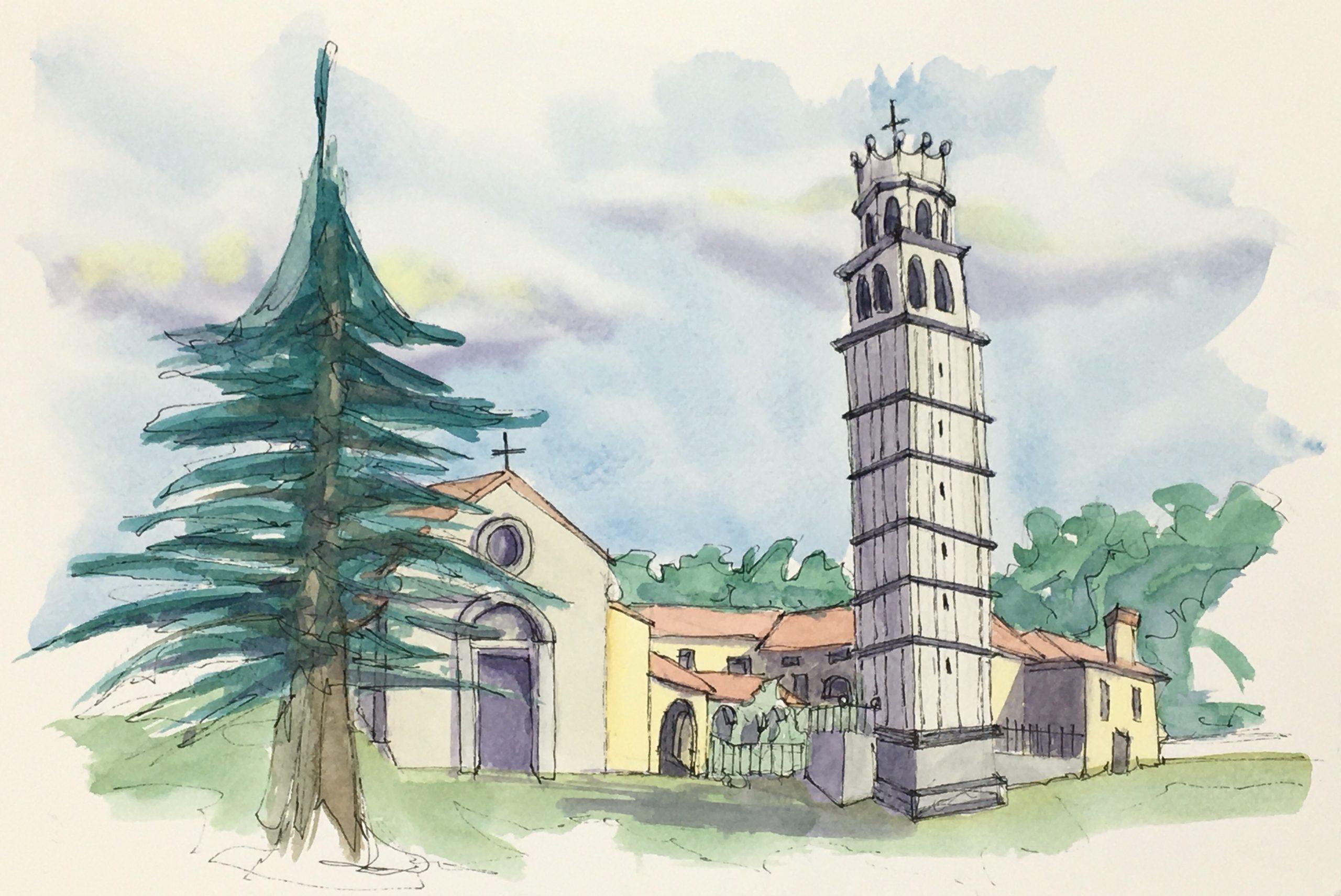 Painting of The Church of San Giacomo in Polcenigo