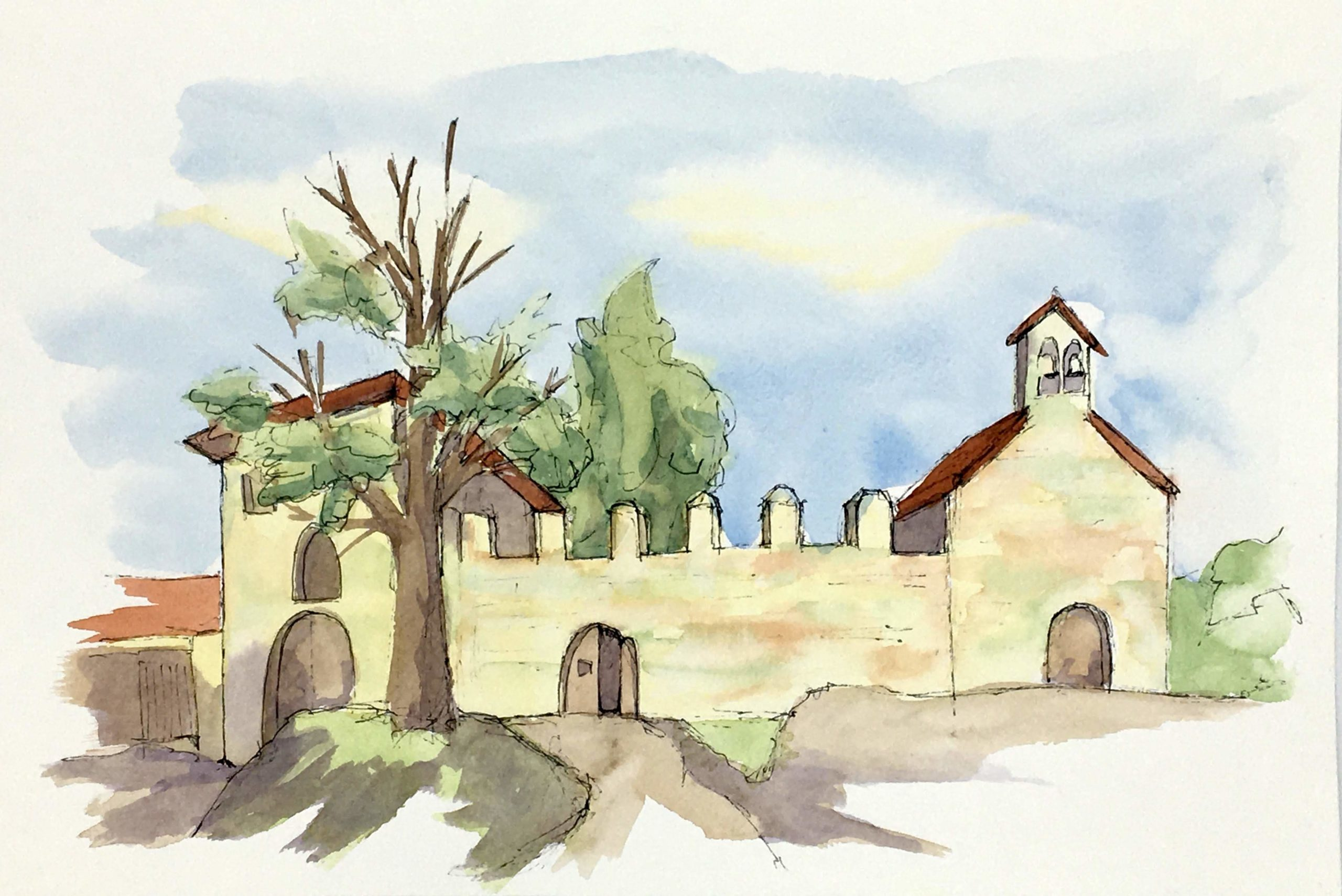 Painting of The walls of the Pilgrim Hospital in Majano