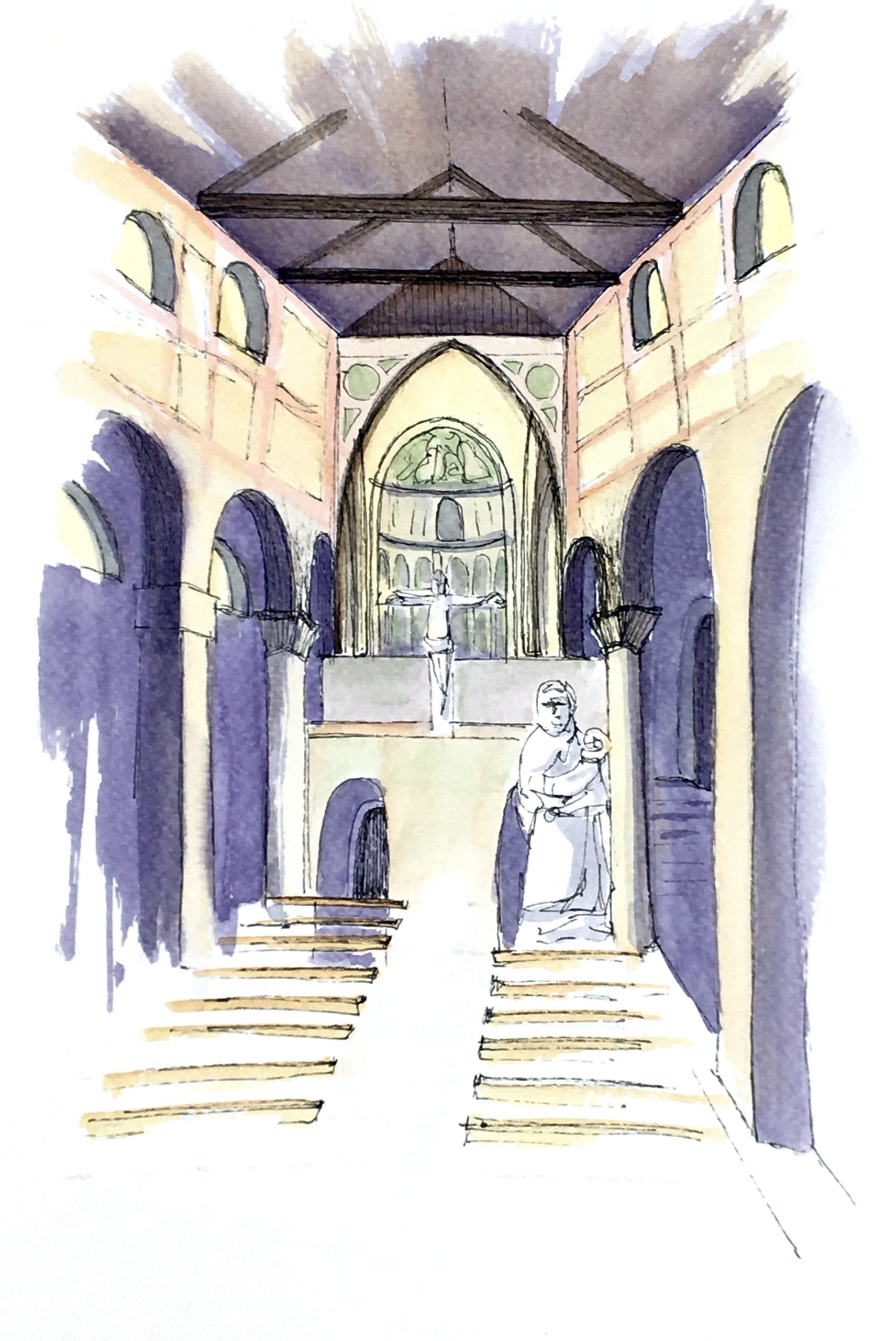 Painting of the interior of the Abbey in Sesto al Reghena