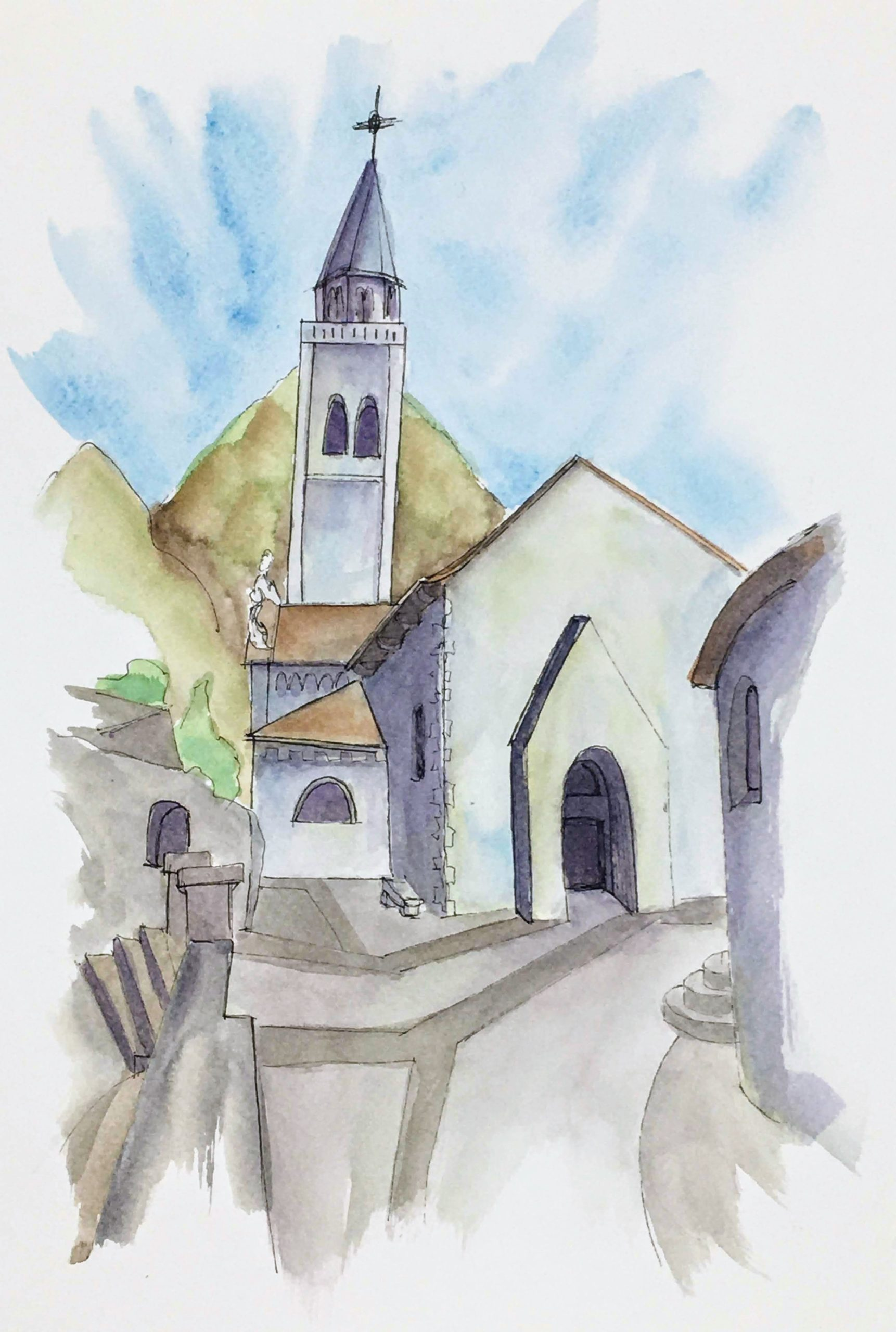 Painting of The Church of Sant'Andrea in Venzone