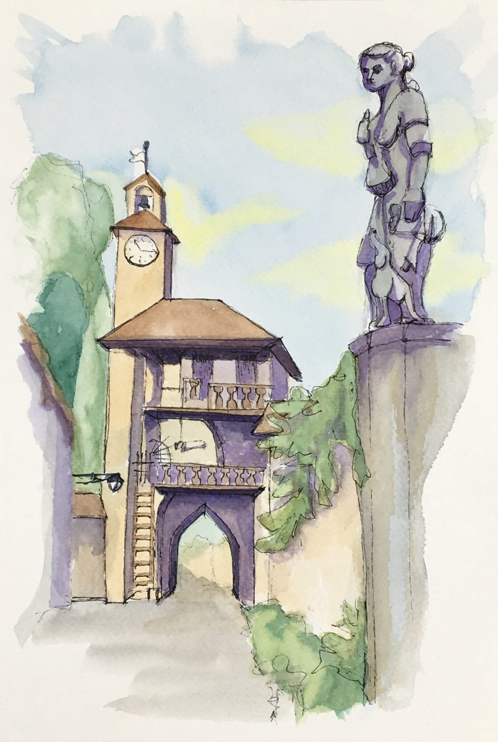 Painting of the gate at the entrance of Cordovado