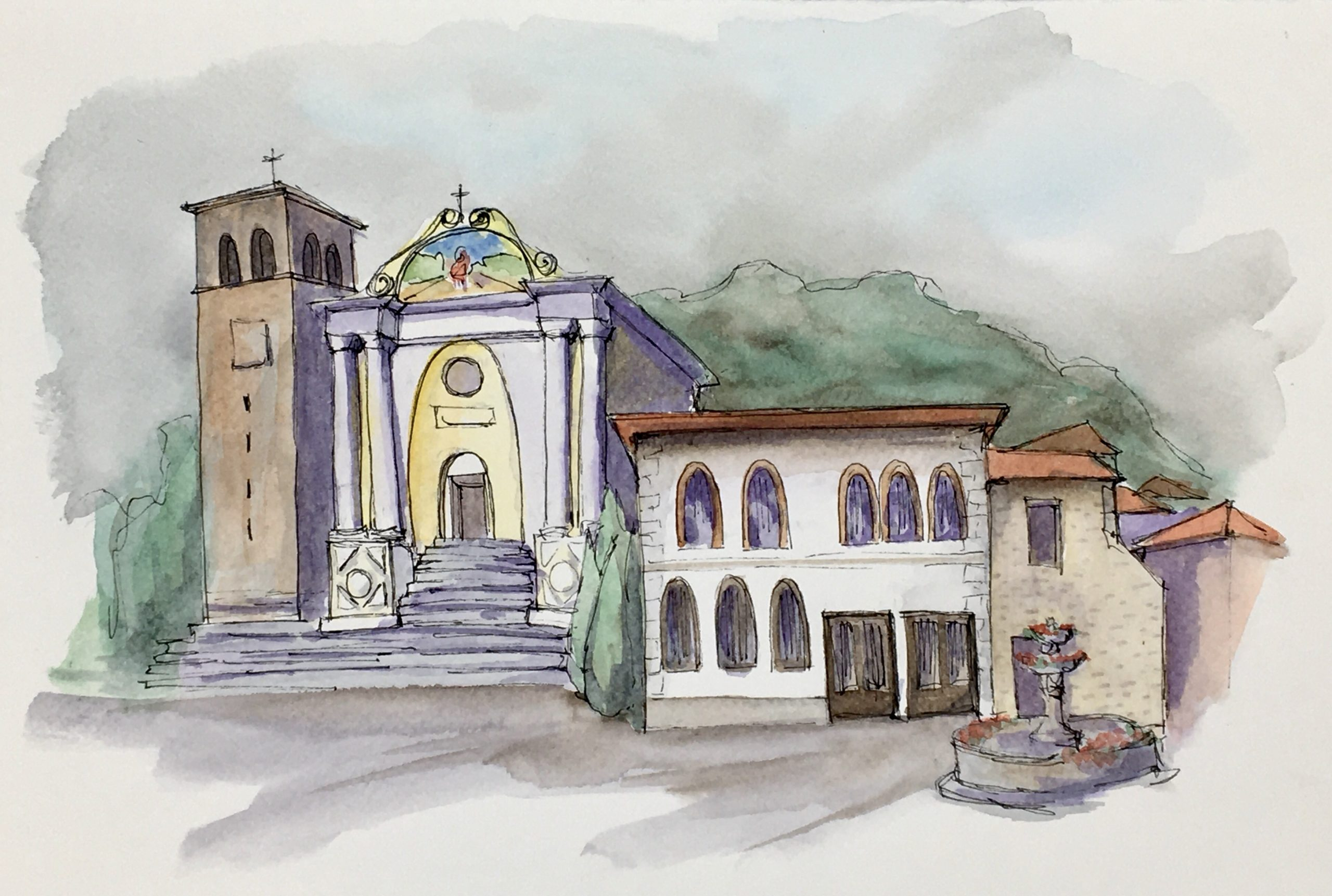 Painting of a View on the historical square of Poffabro