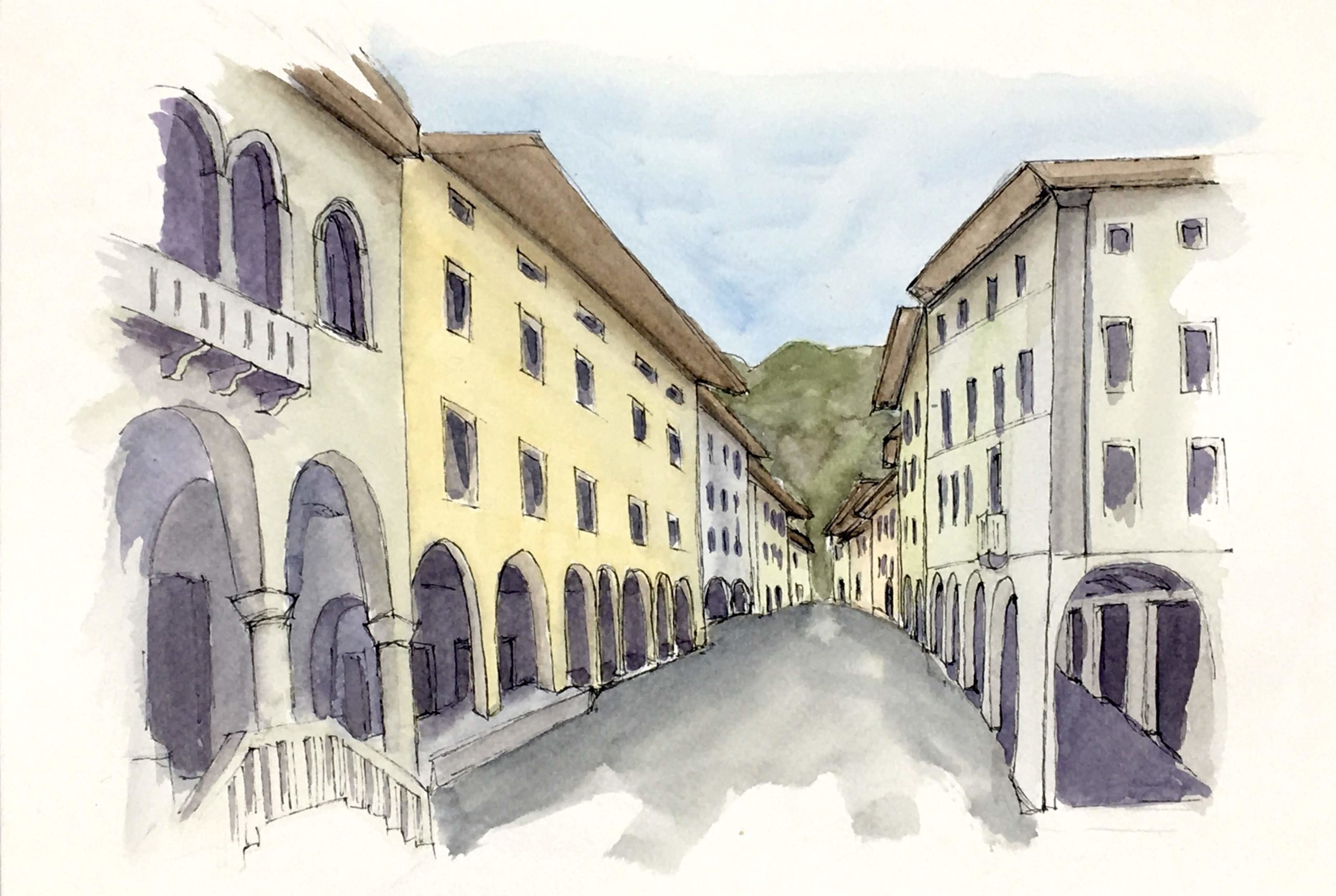 Painting of View of the historical center of Gemona