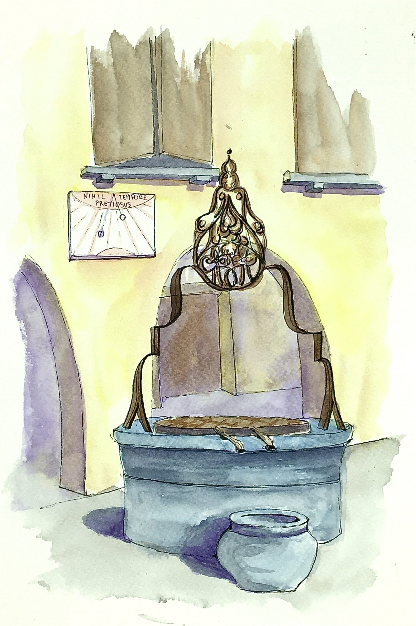 Painting of The sundial in the ancient town of Valvasone