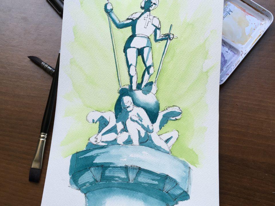 Saint George slaying the dragon in Pordenone