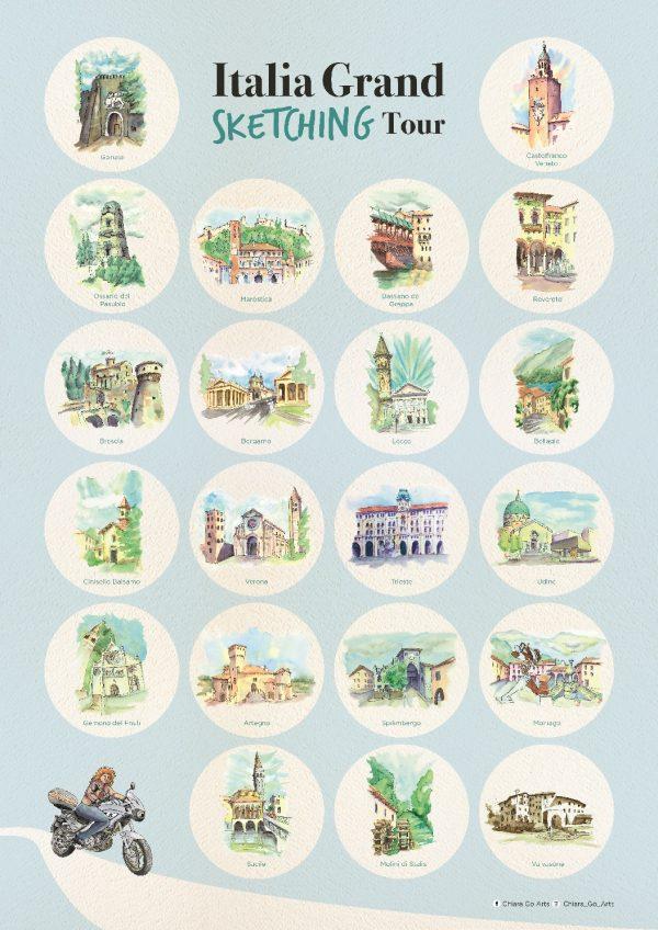 Italia Grand Sketching Tour Poster