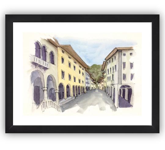 Gemona del Friuli framed in black