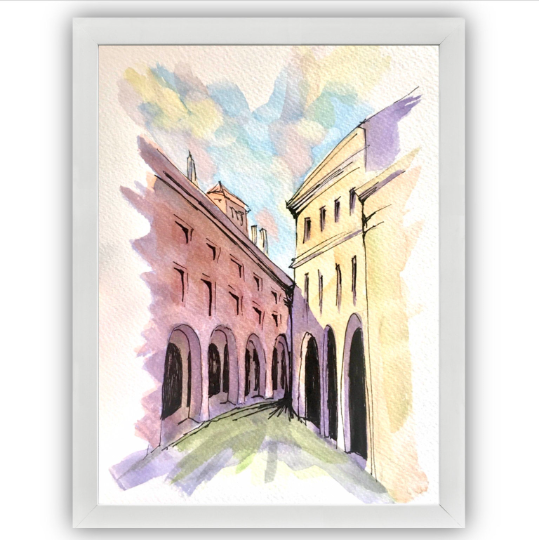 bologna streets with frame